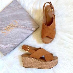 Franco Sarto Suede Caroline Platform Wedge Sandals